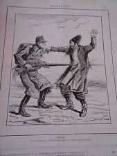 Caricature 1885  A Pendjeb transpercer par le fusil baillonnette
