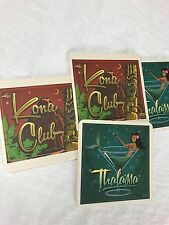 Set of 4 Thalassa Bar Kona Club Tiki Paper Coasters Berkeley CA Collectible