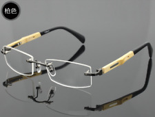 Bamboo temple Eyeglasses Rimless Optical RX Glasses Frames Gunmetal Women Men
