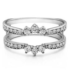 Sterling Silver Crown Inspired Half Halo Wedding Ring Guard Enhancer (0.56tw)