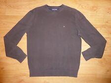 Men's Tommy Hilfiger Thin Brown Crew Neck Premium Cotton Jersey Jumper Top L P