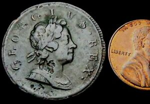 """V668: 1718 George 1st """"Dump"""" Copper Halfpenny, Spink 3659"""
