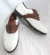 Reebok Mens Golf Shoes Size 9 D US Leather Brown & White Oxford Classic Hexalite