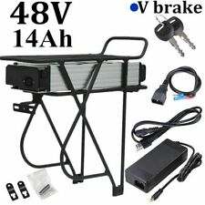 48V 14Ah 1000W  Rear Rack Carrier E-bike Electric Bicycle Li-ion Battery V Brake