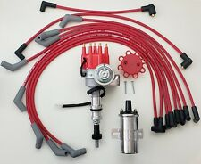 FORD 289 302 SMALL CAP HEI DISTRIBUTOR  + 8.5mm SPARK PLUG WIRES + Chrome Coil