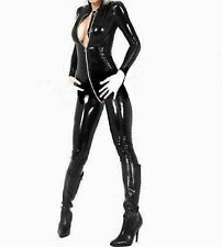 Latex Look Sexy Black  Catsuit Jumpsuit 2 Way Crotch Zip Long Sleeves