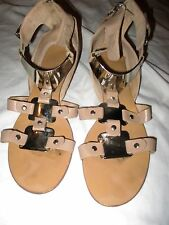 Boutique 9 Sandals Shoes Ladies Size 8 Leather Tan Silver Zip Buckle