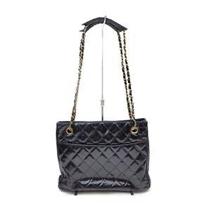 Chanel Shoulder Bag  Black Enamel 1135218