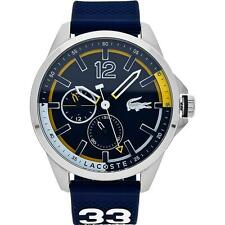 LACOSTE MEN'S 46MM BLUE SILICONE BAND STEEL CASE QUARTZ ANALOG WATCH 2010897