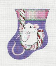SP.ORDER ~ White Christmas Mouse Mini Stocking HP Needlepoint Canvas by Juliemar