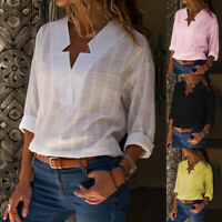 US Womens V Neck Long Sleeve Loose Blouse Ladies Cotton Shirt OL Casual Tee Tops