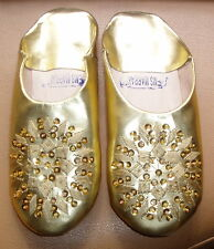 MOROCCAN GOLD LEATHER SEQUINED SLIPPERS size 7/40