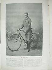 THE SPORTFOLIO PORTRAITS 1896 VINTAGE CYCLING PHOTOGRAPH PRINT A.W. HORTON