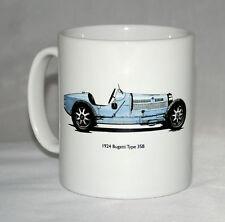 Classic Car Mug. Bugatti Type 35B hand drawn illustration.