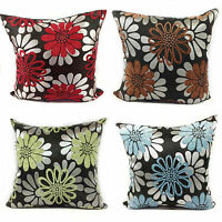Large Set of 4 Chenile Floral Cushions + Covers in 4 Lovely Colours Filled