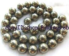 10mm Natural Smooth Round Pyrite Gemstone Beads 15""