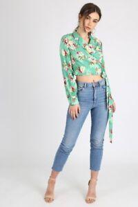 Green Printed Self Tie Wrap Crop Shirt