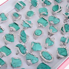 wholesale jewelry lots 5pcs women turquoise silver plated rings free shipping CH