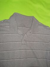 Men's St. John's Bay ® Long-Sleeve Grey Pinstripe Polo ~ Size M ~