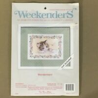 Wonderment countless no count cross stitch kit kitten cat dragonfly with mat new