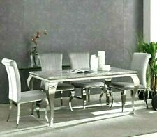 LUXURY ITALIAN LOUIS 160CM MARBLE DINING TABLE & GREY VELVET CHAIRS 2020