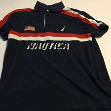 90s Nautica Colorblock Spell Out Sailing Tall Yacht Polo Shirt SZ Slim L Flaw