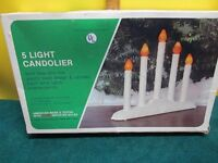 Vintage NOMA 5 Light Candolier Christmas Candelabra with Bulbs Original Box