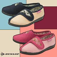 DUNLOP Donna Piedi Lavable Memory Foam Pantofole Velcro per Diabetici e Vecchie
