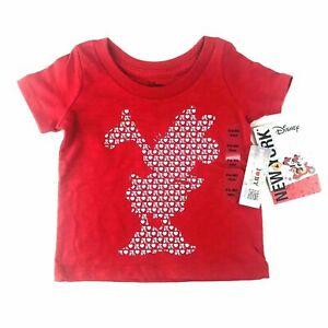 Disney Baby Red Short Sleeve I Love NY Minnie Mouse Silhouette T Shirt Sz 0-6 MO