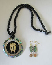 Lee Sands Seed Bead/Brown Lip/Abalone Necklace & Earrings