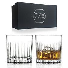 Set of 2 Italian Cut Crystal Whiskey Glasses Bar Gift Scotch Bourbon G&t Boxed