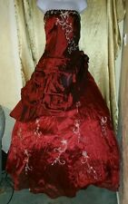 Size 8 💥new💥 burgundy deep red wedding dress 👰prom formal ballgown unworn 🆕