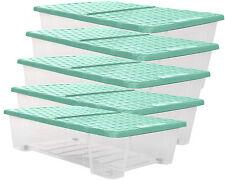 Ondis24 5x Allzweckbox Rollerbox Unterbettbox Aufbewahrungsbox 25 L Rattan mint