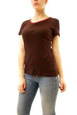 Sundry Women's Striped Boy Cut Loose Fit T-shirt Black US1 RRP £68 BCF612