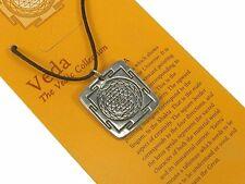 Sri Yantra Pewter Pendant on Cord Necklace #NI-VEDA535