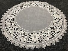 """6 Pieces 20"""" Embroidered Handmade Jeweled Cutwork Doily Doilies - White Silver"""