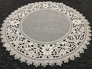 "17"" Embroidered Organza Lace Cutwork Doily Doilies White Silver Wedding Bridal"