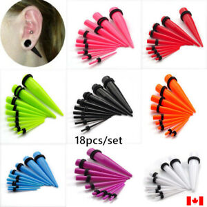 18PCS Ear Gauges Stretching Set Acrylic Tapers Plugs flesh Tunnels punk jewelry
