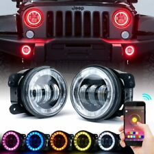2PCS 4inch Round LED Fog Lights RGB Halo Driving Lamp for JK Jeep Wrangler 07-16