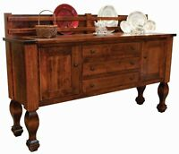 """Amish Solid Wood Buffet Farmhouse Country Sideboard Marriott Plate Rack 78"""""""