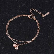 Rose Gold Plated Double Bell Double Chain Anklet