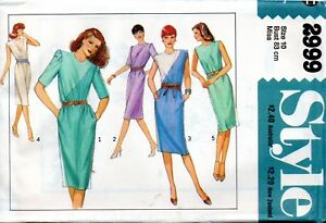 1970s Style Sewing Pattern 2999 Misses Chemise Shaped Dress Size 10