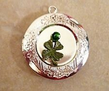 "Shamrock Green 4 Leaf Clover PHOTO Locket SilverP on sterling Chain 18"" Necklace"