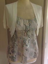 NEW MONSOON ivory & green print silk blend camisole top & shrug cardigan UK 12