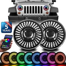 "2x 7"" LED Headlight RGB DRL Halo Angel Eyes Bluetooth for Jeep Wrangler JK TJ LJ"