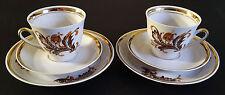 Vintage USSR Latvia Riga Porcelain Factory RPR Tea Coffee Cup & Saucers Set of 2