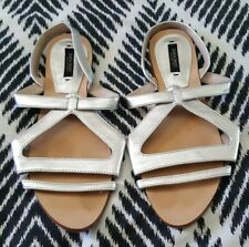 ZARA BASIC Silver Flat Sandals Shoes Size 38 Boho