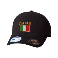 Flexfit Hats for Men & Women Italia Flag Embroidery Dad Hat Baseball Cap