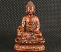 Big chinese tibetan old boxwood hand carved buddha statue netsuke have flaw