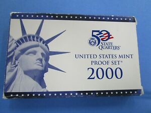 2000-S U.S. MINT PROOF SET...10 COINS...WITH Original BLUE & WHITE BOX...COA